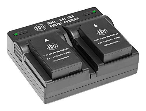 BM Premium Pack of 2 ENEL20, EN-EL20a Batteries and USB Dual Battery Charger for Nikon Coolpix P1000, DL24-500, Coolpix A, 1 AW1, 1 J1, 1 J2, 1 J3, 1 S1, 1 V3 Digital Camera