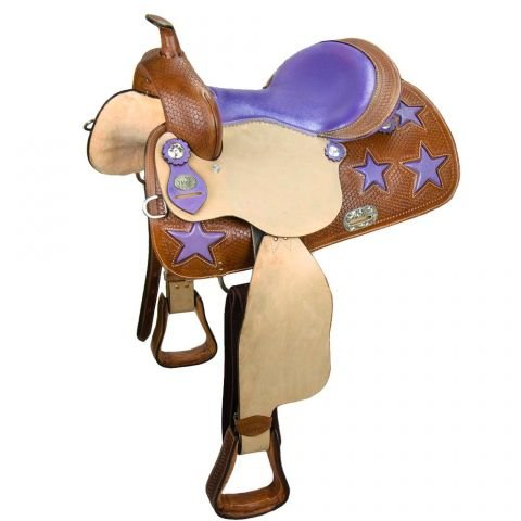 Tahoe Tack Warehouse Clearance Closeout Ostrich Print Purple Star Western Barrel Horse Saddle - 15 inch ()