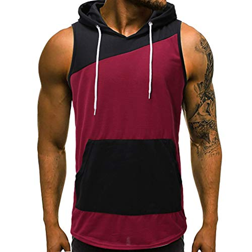 Male Vest Tank Top,MmNote Bodybuilding Technology Lightweight Muscle Fitness Microfiber Bodybuilding Red