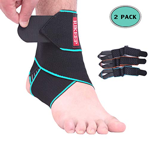 Ankle Support,Adjustable Ankle Brace Breathable Nylon Material Super Elastic and Comfortable One Size Fits All, Protects Against Chronic Ankle Strain, Sprains Fatigue (Blue(1 Pair))