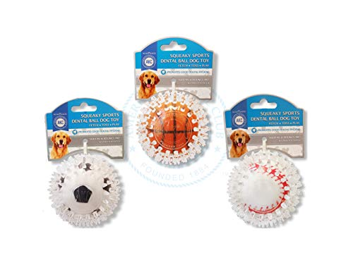 American Kennel Club TPR Squeaky Dental Ball Toys for Dogs, Pack of 3