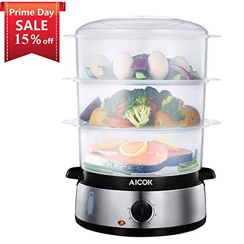 AICOK Food Steamer 9.5 Quart Vegetable Steamer with BPA-Free 3 Tier Stackable Baskets, 800W Fast Heating Electric Steamer Including Egg Holders and Rice Bowl, Stainless Steel Base