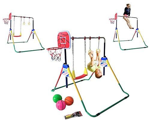 ProKidFit Kids Jungle Gym Monkey Bar Kip Bar 4 in 1 Deluxe Full Playground Climbing Hanging Power Tower w Swing Set, Trapeze Rings, Basketball Hoop, Horizontal Gymnastics Junior Training -