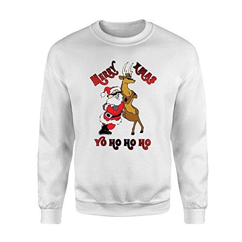 Santa & Rudolph Ugly Sweater, Cool Santa Sweater,Christmas Party Shirts,Cool Santa and Rudolph Christmas Gift,Santa and Deer Clothes C-22