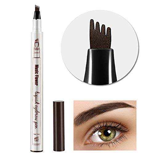 Eyebrow Tattoo Pen,Microblading Eyebrow Pen Tat Brow Microblade Eyebrow Pen Waterproof  Smudge-Proof With Four Micro-Fork Tips Applicator for Daily Natural Eye Makeup