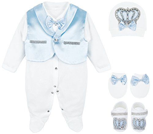 Lilax Baby Boy Jewels Crown Tuxedo Outfit Layette 5 Piece Gift Set 0-3 Months Blue