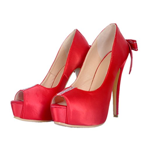 Kolnoo Ladies Handmade Satin Simple Style Fashion High Heel Party Prom Pumps Shoes Reds iAS1Eu