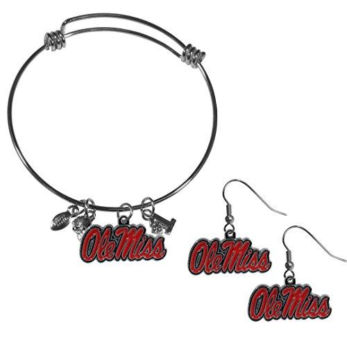 Siskiyou NCAA Mississippi Ole Miss Rebels Dangle Earrings & Charm Bangle Bracelet Set