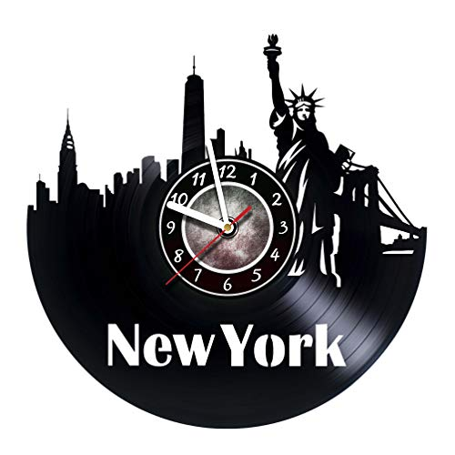 New York City Vinyl Record Wall Clock - Get unique living room wall decor - Gift ideas for friends, teens, men and women, girls and boys - NY Unique Art Design Gifts -