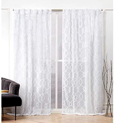 Nicole Miller Soft Trellis Curtain Panel, 54×84, White, 2 Panels