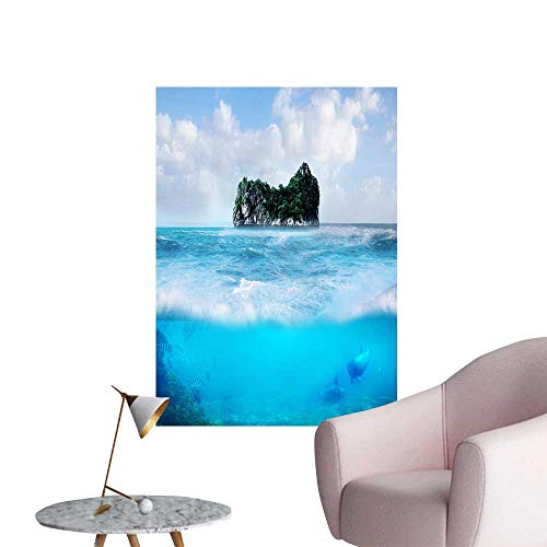 "SeptSonne Vinyl Artwork A Small Island on The sea Easy to Peel Easy to Stick,16"" W x 24"" L"