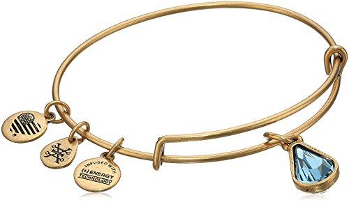 Alex and Ani March Birth Month Charm with Swarovski Crystal Rafaelian Gold Bangle Bracelet -