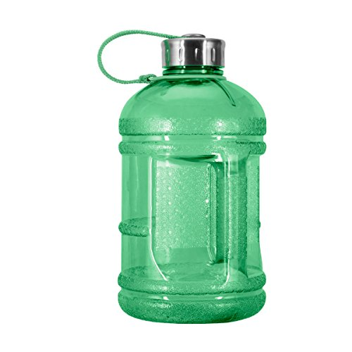 (Geo Sports Bottles 1/2 Gallon (64 oz.) BPA Free Plastic Water Bottle w/ 48mm Steel Cap (Green))
