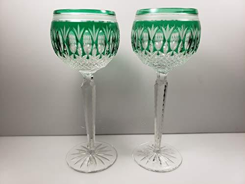 Bohemian Crystal Wine Hocks Set of 2 Emerald Green 8
