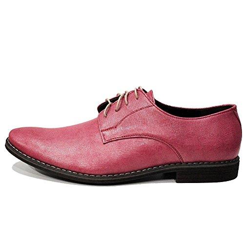 PeppeShoes Modello Piko - Handmade Italiennes Cuir Pour des Hommes Rose Chaussures Oxfords - Cuir de Vachette Cuir Gaufré - Lacer