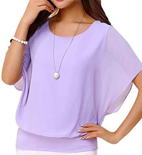 (Neineiwu Women's Loose Chiffon Top Round Neck Bat Short Sleeve Casual T-Shirt (Purple)