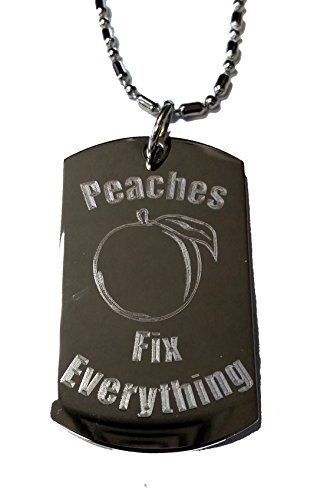Peaches Fix Everything - Luggage Metal Chain Necklace Military Dog Tag