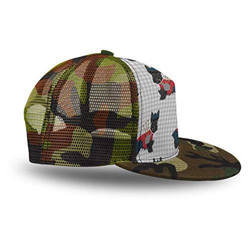 YongColer Cool Baseball Caps, Adjustable Blank Trucker Hats Summer Mesh Cap Flat Bill, Gift for Boys Girls Teens(Scottie Dog with Bagpipes,1 Pack)