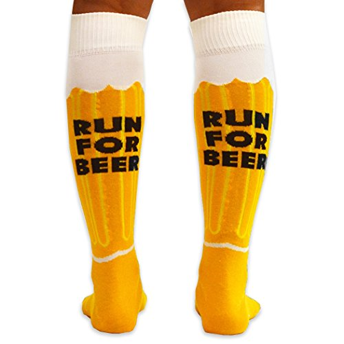 Gone For a Run Knee High Half Cushioned Athletic Running Sock | Will Run For Beer (Amber/Brown/White)