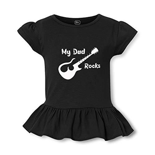 (My Dad Rocks Short Sleeve Toddler Cotton Girly T-Shirt Tee - Black, Small)