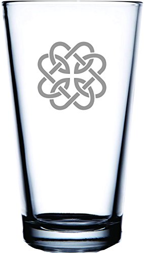Irish Celtic Fatherhood Knot Laser Etched Engraved Beer Glass for Bar, Gifts and Irish Fun - 16 Ounce Pub Pint Glass]()