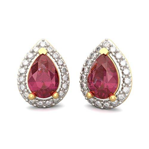14K jaune Or 0,19CT TW White-diamond (IJ | SI) et rubis Boucles d'oreille à tige