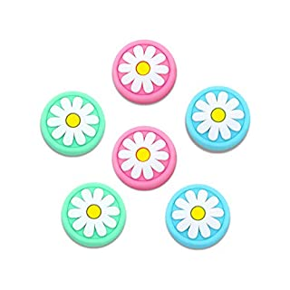 6amLifestyle Thumb Grip Caps for Nintendo Switch & Lite 6 Pack Flower Cute Design Soft Silicone Joystick Cover Compatible with Switch Joy-Con (Pink& Blue& Green)