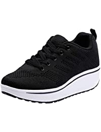 PPXID Women's Lace Up Platform Fashion Sneakers Breathable Sport Running Shoe