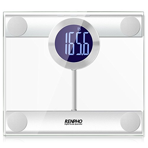 RENPHO Digital Bathroom Scale Unique Big Round LCD Display, Extra Large Heavy Duty Platform 440lbs 200kg, Jumbo Size - Transparent