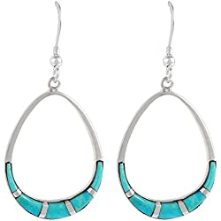 925 Sterling Silver Earrings Genuine Turquoise Pear-Shape Drop Dangles