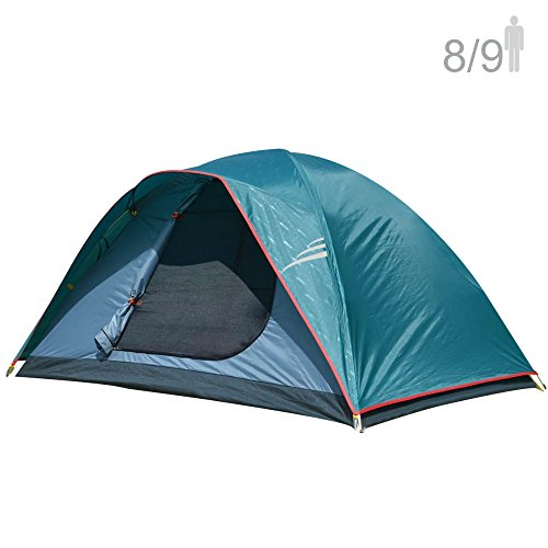 NTK Oregon GT 8 to 9 Person 10 by 12 Foot Outdoor Dome Family Camping Tent 100% Waterproof 2500mm, Easy Assembly, Durable Fabric Full Coverage Rainfly, Micro Mosquito Mesh