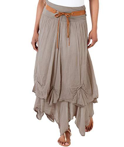 Boho Maxi Long Skirt (Size UK 14, US 10), Mocha (7847)