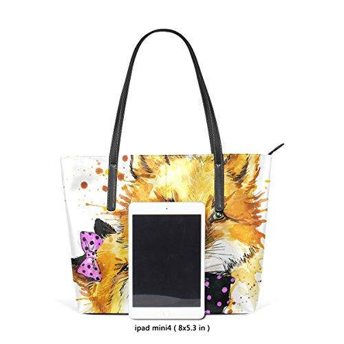 COOSUN Funny Fox mit Aquarell Splash Hintergrund PU Leder Schultertasche Handtasche und Handtaschen Tasche für Frauen