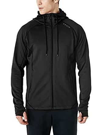 TESLA Men's Active Running Hoodie Full-Zip Jacket MKJ03-BLK