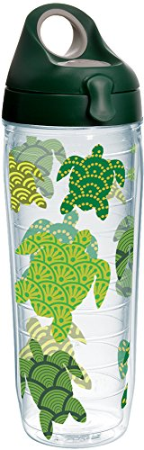 Tervis 1231226 Turtle Pattern Insulated Tumbler with Wrap and Hunter Green with Gray Lid 24oz Water Bottle Clear