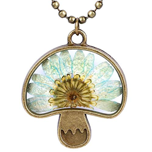 CliPons Pressed Flower Pendant Vintage Alloy Mushroom Necklace Girls Women Gifits