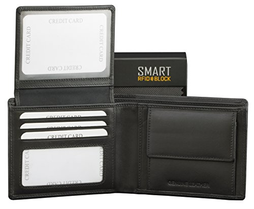 RFID NFC Blocking Bifold Wallet with Coin Pocket for Men - Black Real Soft...