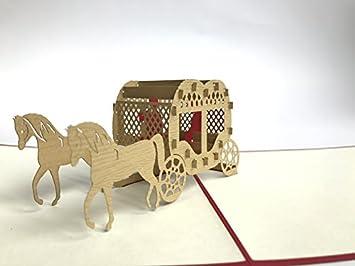 Frohe Weihnachten Pferd.Braun Pferd Kutsche 3d Pop Up Grußkarte Handgefertigt Happy Birthday Hochzeitstag Freundschaft Frohe Weihnachten Thanksgiving Thank You Best Wish