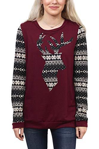 Fair Isle Crewneck Sweater - Christmas Women Cotton Color Blocked Reindeer Long Sleeve Plaid Xmas Crewneck Sweatshirt Burgundy L