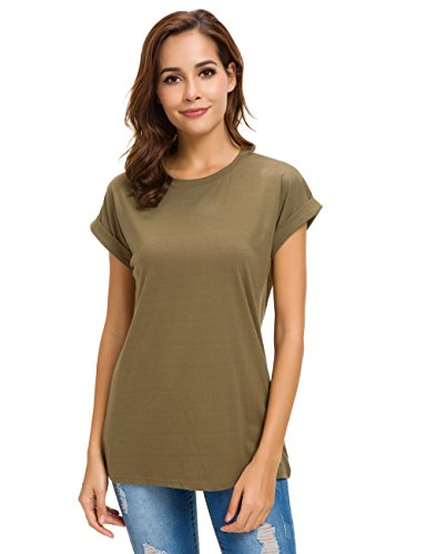 Womens Short Sleeve Loose Fitting T Shirts Cotton Casual Tops Army Green