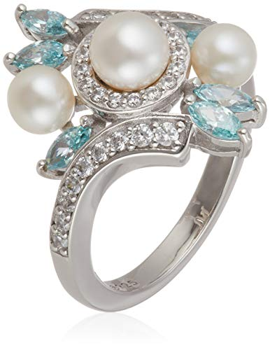 Platinum-Plated Sterling Silver Freshwater Pearl Bypass with Frosty Mint Swarovski Zirconia Accents Ring, Size ()