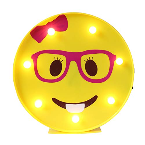 DELICORE Marquee Emoji Sign Funny LED Table Lamps Night Lights for Children Kids Bedroom Wall Decor Battery Operated & USB Charging (Nerd Girl) -