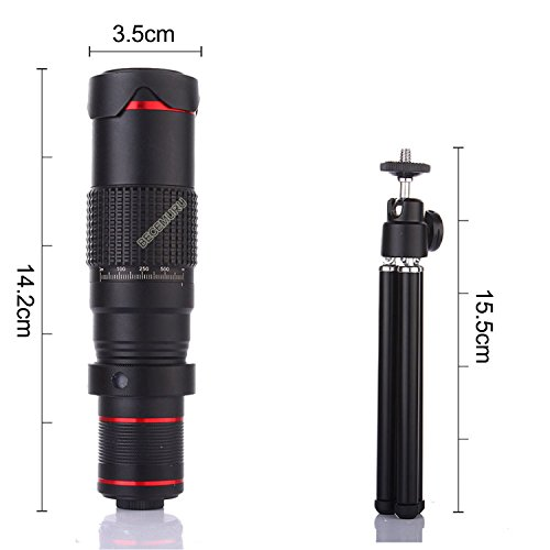 Camera Lens,BECEMURU 22X 4 in 1 Telephoto Zoom Camera Lens Kit Double Regulation HD Scale Distance FOV Phone Lens Attachment with Tripod for iPhone X/8/7/7 Plus/6s/6/5,Samsung Galaxy/Note Smartphone by BECEMURU (Image #7)