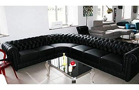 mobilier nitro Sofá de Esquina Chesterfield Negro Piel + PVC ...