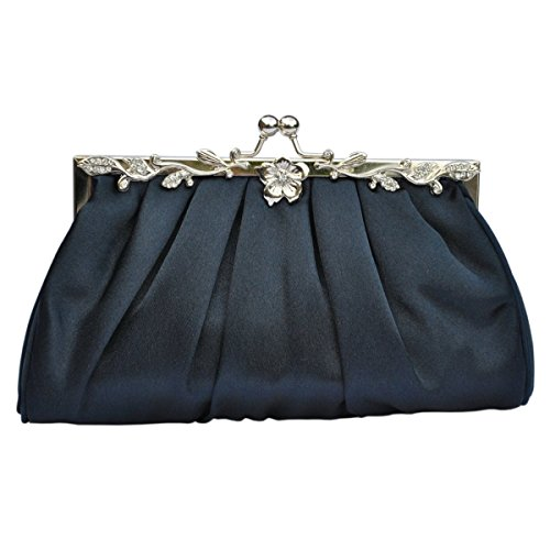 Bags Pleated Satin Prom Wedding Navy Evening Clutch Handbag Bridal Party Bag TqnqzpxFw