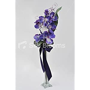 Modern Purple Orchid & Iris Guest Table Display w/ Crystal Lily 12
