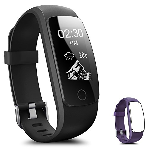 Fitness Tracker, Coffea H7-HR Activity Tracker : Heart Rate Monitor Wireless Bluetooth Smart Wristband Bracelet, Waterproof Fitness Watch with Replacement Band for Android & IOS (Black+Purple Band)
