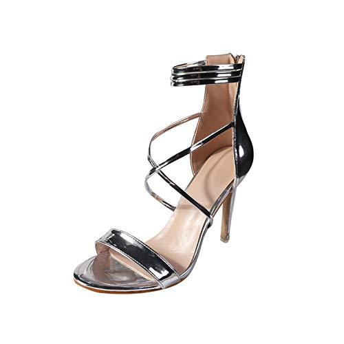 (Women Sandals Ladies Fashion Thin High Heels Open Toe Zipper Party Shoes Sandals High Heels Sandals Women,Silver,36,United States)
