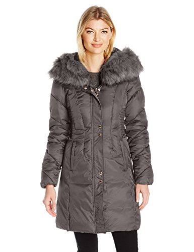 Via Spiga Women's Faux Fur Trimmed Exaggerated