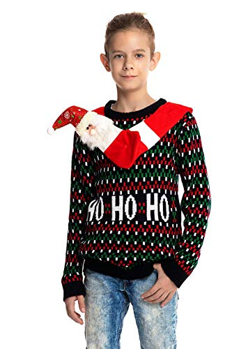 U LOOK UGLY TODAY Childrens Kids Knit Woolen Ugly Christmas Sweater, Medium (8-9 Years Old) -